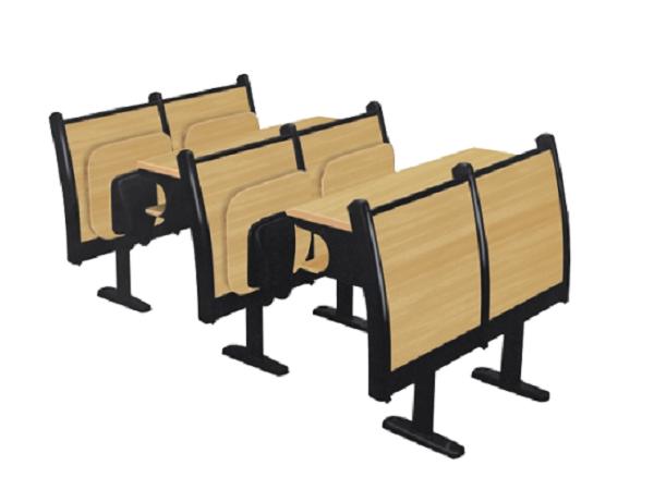 中腿木背固定双板连排椅
