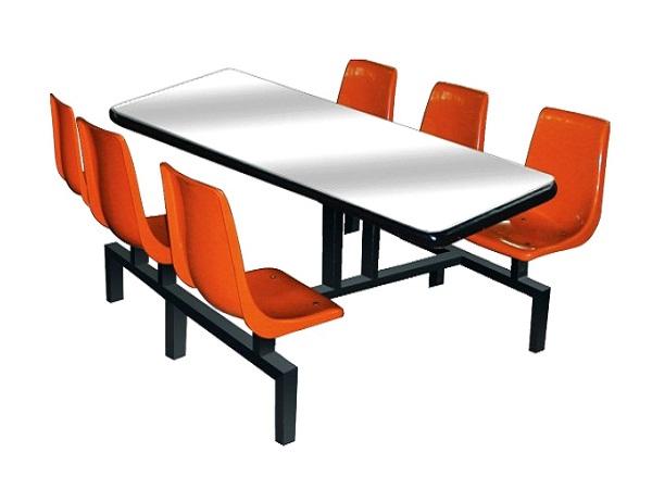 食堂六人连体玻璃钢餐桌