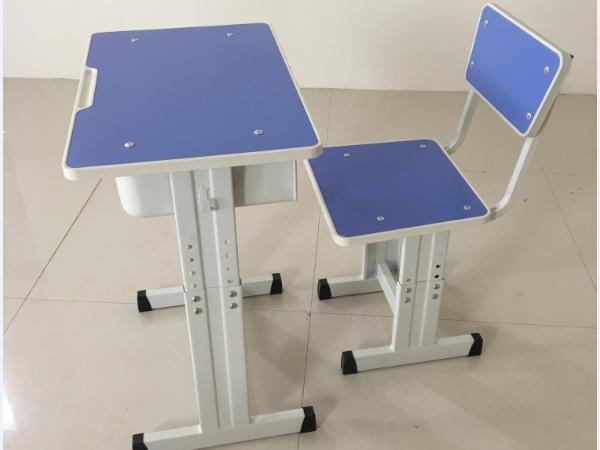 单人宽钢板升降课桌椅