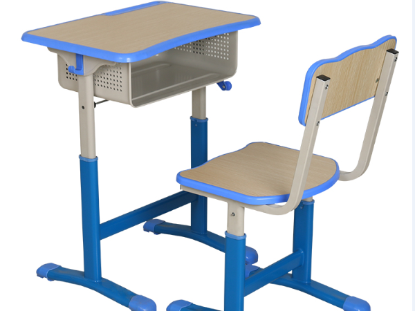 单人板式手摇升降课桌椅